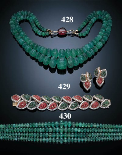 A TWO-STRAND EMERALD BEAD NECK