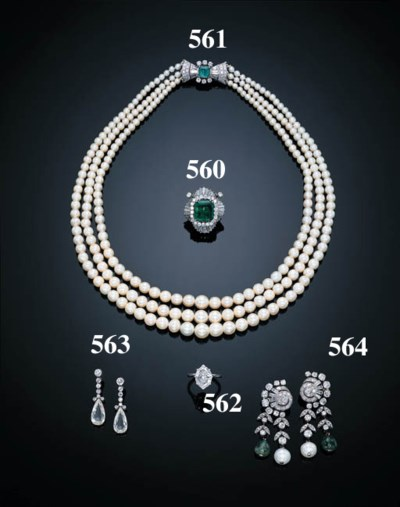 A PAIR OF EMERALD, PEARL AND D