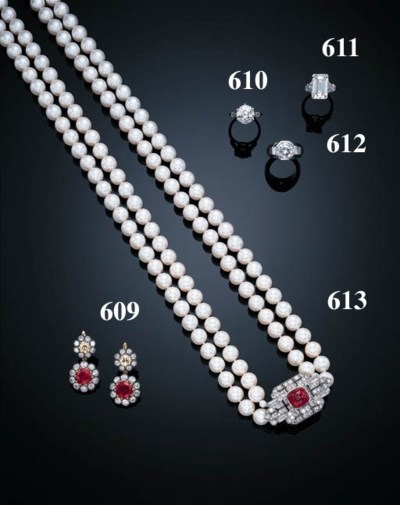 A PAIR OF RUBY, DIAMOND AND CO