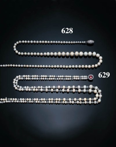 A TWO-STRAND PEARL AND DIAMOND