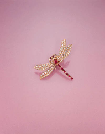 A RUBY AND DIAMOND DRAGONFLY C