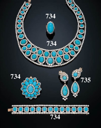 A PAIR OF DIAMOND AND TURQUOIS
