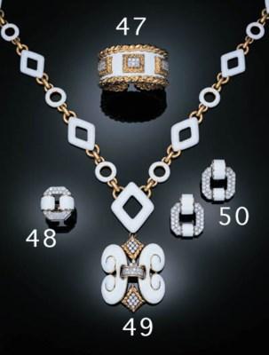 AN ENAMEL AND DIAMOND BANGLE,
