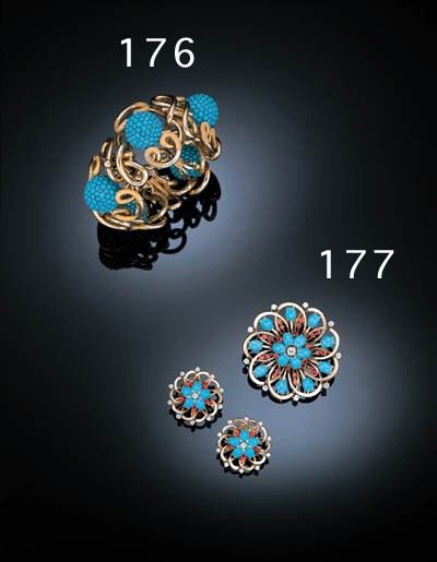 A SUITE OF TURQUOISE, RUBY AND