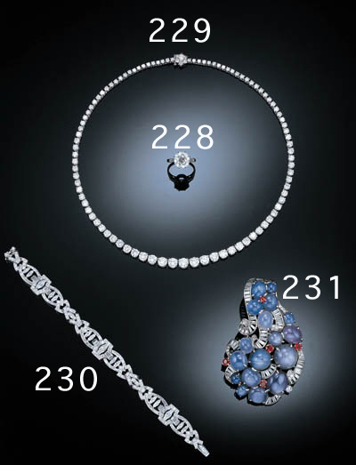 A SAPPHIRE, DIAMOND AND RUBY B
