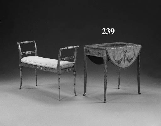 A GEORGE III PAINTED SATINWOOD PEMBROKE TABLE