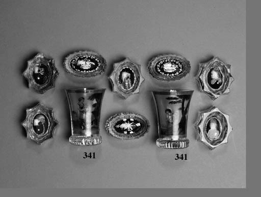 A PAIR OF BOHEMIAN GLASS BEAKERS