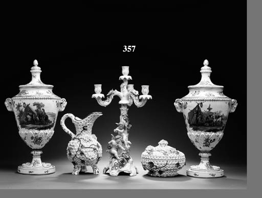 TWO PAIRS OF GERMAN PARCEL-GILT WHITE-GROUND PORCELAIN CANDELABRA