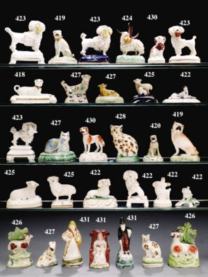 FIVE PEARLWARE FIGURES AND A M