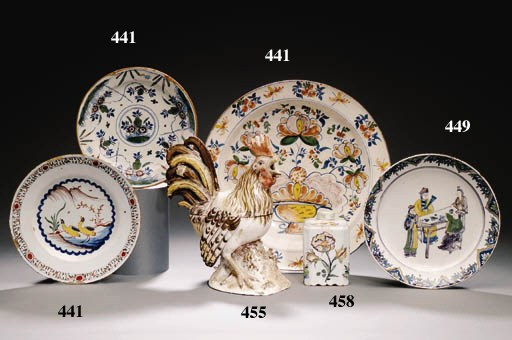 A FRENCH FAIENCE ROOSTER TUREE