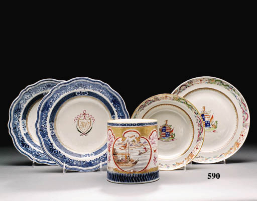 TWO ARMORIAL PLATES