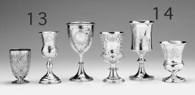 FIVE ENGLISH SILVER KIDDUSH CU