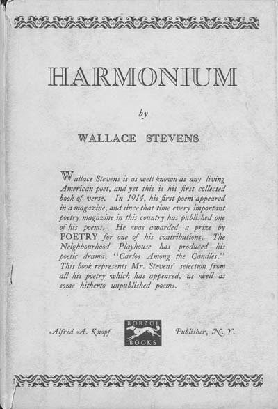 STEVENS, WALLACE. Harmonium. N