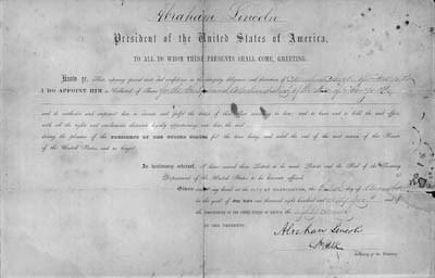 LINCOLN, ABRAHAM.  President.