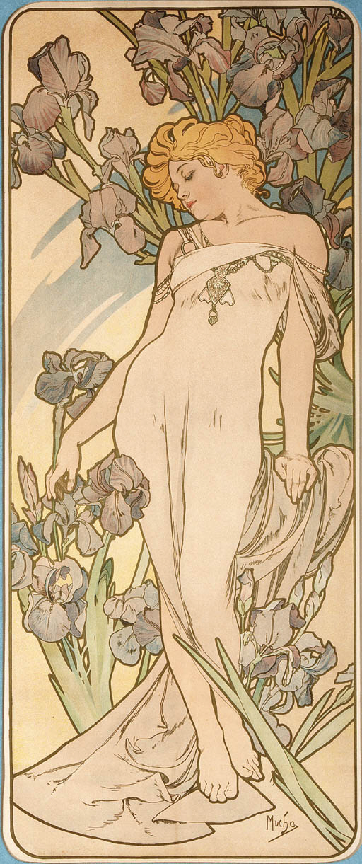 'IRISES', A LITHOGRAPH IN COLORS