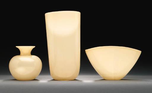 THREE INTERNALLY DECORATED GLASS VASES