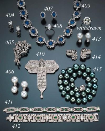 ART DECO STYLE DIAMOND AND EME