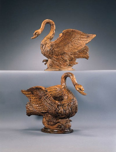 A PAIR OF PINE SWAN-FORM JARDI