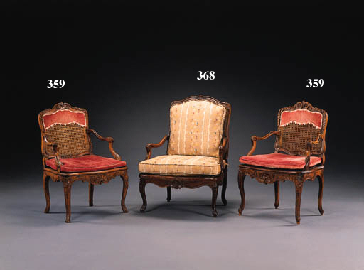A PAIR OF LOUIS XV CANED BEECH