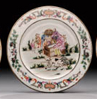 A FAMILLE ROSE NATIVITY PLATE
