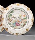 A EUROPEAN SUBJECT FAMILLE ROSE PLATE
