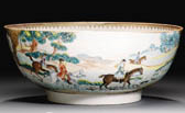 A FAMILLE ROSE HUNTING BOWL