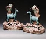 A PAIR OF HORSE VASE GROUPS