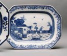 A BLUE AND WHITE OCTAGONAL PLA