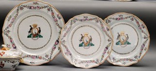 A LARGE ARMORIAL DISH AND A PA