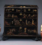 A WILLIAM AND MARY BLACK, POLYCHROME AND GILT-JAPANNED CHEST-OF-DRAWERS