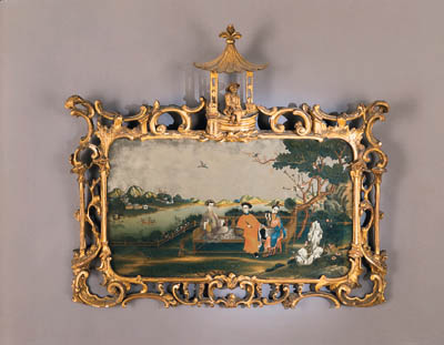 A CHINESE MIRROR-PAINTING IN A GEORGE III GILTWOOD FRAME