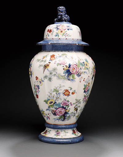 A MASSIVE ENGLISH IRONSTONE HEXAGONAL BALUSTER VASE AND COVER