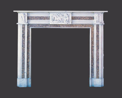 A GEORGE III STYLE WHITE AND BROCATELLE MARBLE CHIMNEYPIECE