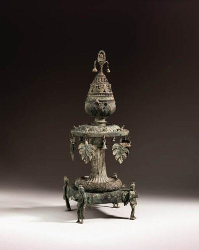An important bronze lotus bud-