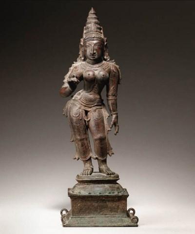 A bronze figure of Parvati