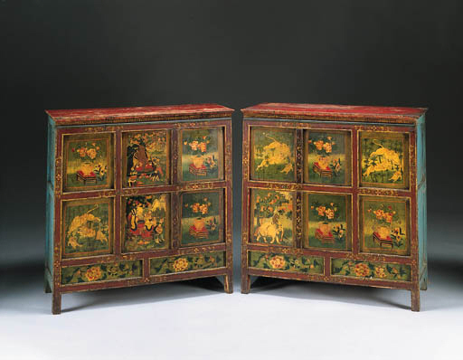 A pair of cabinets