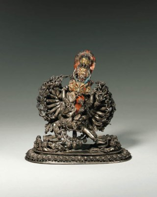 A Silver Figure of Yamantaka a