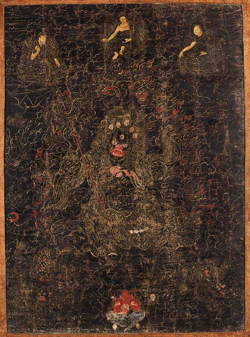 A black-groud thangka of Mahak