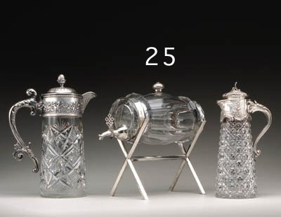 A silver-mounted cut-glass Keg