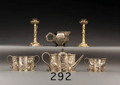 AN UNUSUAL VICTORIAN SCOTTISH SILVER-GILT TEA SERVICE**