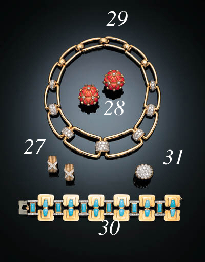 A PAIR OF DIAMOND AND GOLD EAR CLIPS, SCHLUMBERGER, TIFFANY & CO.