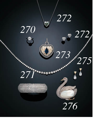 A SUITE OF HEART-SHAPED DIAMOND JEWELRY