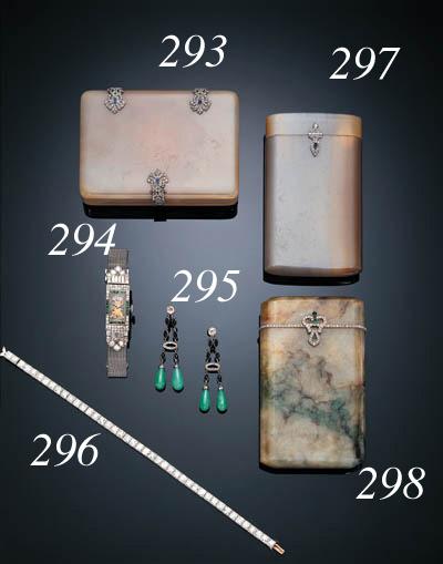 A LADY'S ART DECO DIAMOND, EMERALD AND PLATINUM WRISTWATCH, TIFFANY & CO.