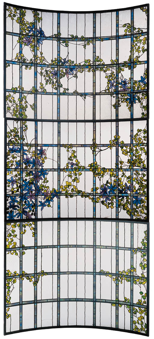 A 'CLEMATIS' LEADED GLASS THREE-SECTIONED SKYLIGHT | TIFFANY STUDIOS