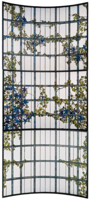 A 'CLEMATIS' LEADED GLASS THRE