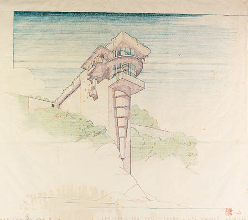 An Architectural Drawing Frank Lloyd Wright For The V C Morris House San Francisco