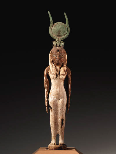 A WOODEN STATUETTE OF ISIS