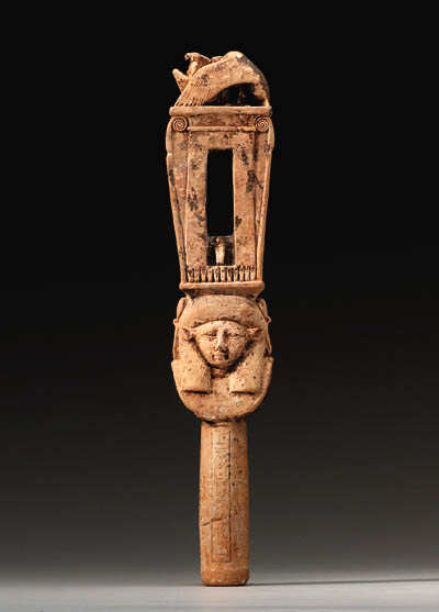 A LATE PERIOD FAIENCE SISTRUM