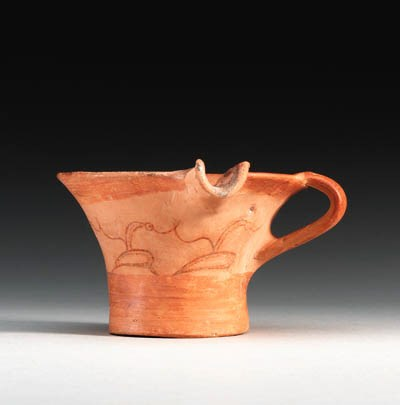 A MYCENAEAN POTTERY SPOUTED CU