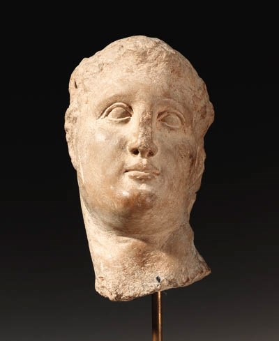 A GREEK MARBLE HEAD OF A MAN
